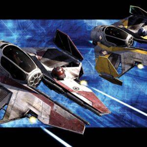 Posters Fototapeta Star Wars Obi Anakin Jedi Starfighters 312x219 cm - 130g/m2 Vlies Non-Woven - Posters