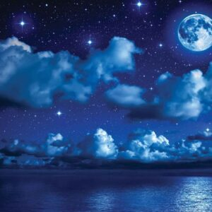 Posters Fototapeta Sky Moon Clouds Stars Night Sea 254x184 cm - 115g/m2 Paper - Posters
