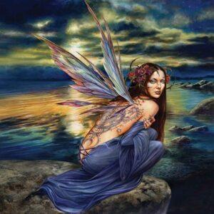 Posters Fototapeta Fairy Sea Flowers Wings 254x184 cm - 115g/m2 Paper - Posters