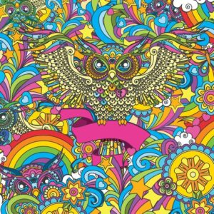 Posters Fototapeta Colorful Owls Stars Rainbow Flowers 152.5x104 cm - 130g/m2 Vlies Non-Woven - Posters