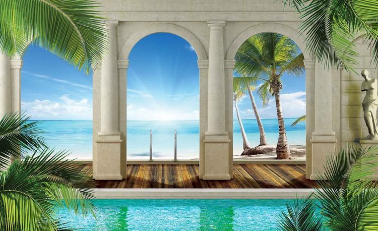 Posters Fototapeta Tropical Beach 312x219 cm - 130g/m2 Vlies Non-Woven - Posters