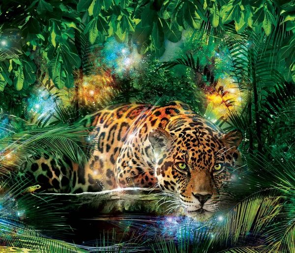 Posters Fototapeta Leopard In Jungle 104x70.5 cm - 130g/m2 Vlies Non-Woven - Posters