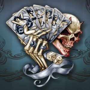 Posters Fototapeta Skull Dice Cards 104x70.5 cm - 130g/m2 Vlies Non-Woven - Posters