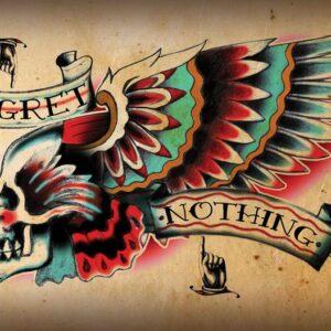 Posters Fototapeta Skull Tattoo Wing 104x70.5 cm - 130g/m2 Vlies Non-Woven - Posters