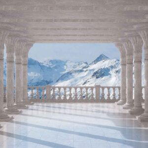 Posters Fototapeta Mountain Scene Through The Arches 104x70.5 cm - 130g/m2 Vlies Non-Woven - Posters