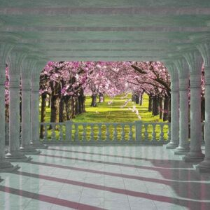 Posters Fototapeta Cherry Trees through The Arches 104x70.5 cm - 130g/m2 Vlies Non-Woven - Posters