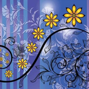 Posters Fototapeta Flowers Floral Pattern 152.5x104 cm - 130g/m2 Vlies Non-Woven - Posters