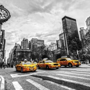 Posters Fototapeta New York City Cabs 104x70.5 cm - 130g/m2 Vlies Non-Woven - Posters