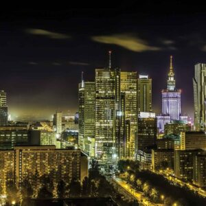 Posters Fototapeta City Warsaw Night Travel 104x70.5 cm - 130g/m2 Vlies Non-Woven - Posters