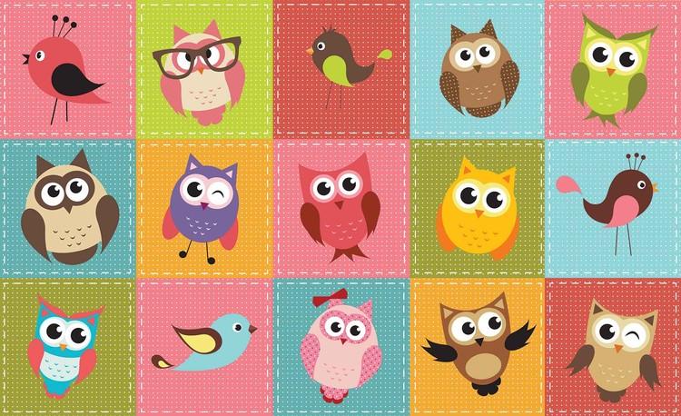 Posters Fototapeta Owls 104x70.5 cm - 130g/m2 Vlies Non-Woven - Posters