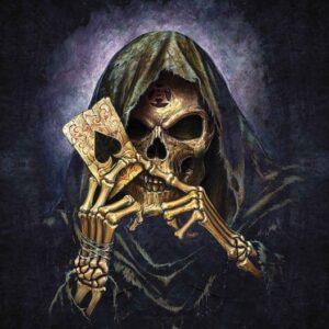 Posters Fototapeta Skull Death Ace Alchemy 152.5x104 cm - 130g/m2 Vlies Non-Woven - Posters