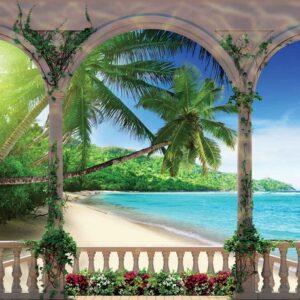 Posters Fototapeta Beach Tropical 104x70.5 cm - 130g/m2 Vlies Non-Woven - Posters