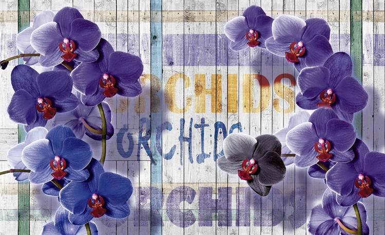 Posters Fototapeta Orchids Flowers Wooden Planks 104x70.5 cm - 130g/m2 Vlies Non-Woven - Posters