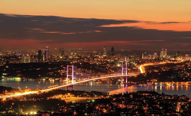 Posters Fototapeta City Skyline Istanbul Bosphorus 104x70.5 cm - 130g/m2 Vlies Non-Woven - Posters