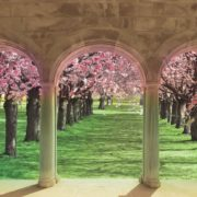 Posters Fototapeta Flowering Trees Through The Arch 152.5x104 cm - 130g/m2 Vlies Non-Woven - Posters