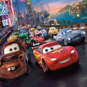 Posters Fototapeta Disney Cars Lightning McQueen Mater 152.5x104 cm - 130g/m2 Vlies Non-Woven - Posters