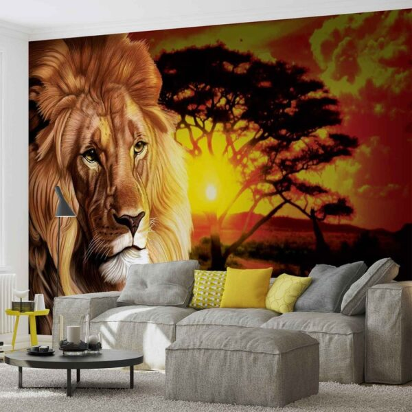 Posters Fototapeta Lion Sunset Africa Nature Tree 152.5x104 cm - 130g/m2 Vlies Non-Woven - Posters