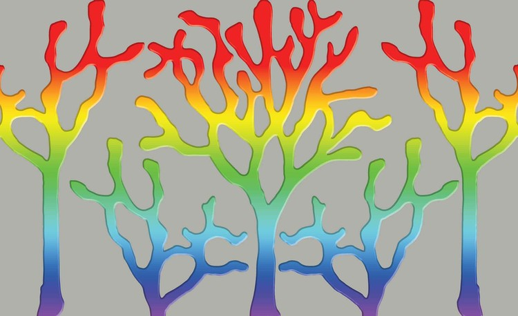 Posters Fototapeta Tree Abstract Rainbow 152.5x104 cm - 130g/m2 Vlies Non-Woven - Posters