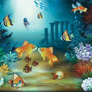 Posters Fototapeta Fishes Corals Sea 152.5x104 cm - 130g/m2 Vlies Non-Woven - Posters