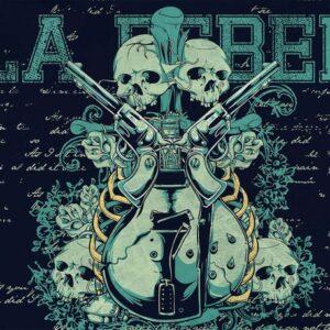 Posters Fototapeta Rock Guitar Skull Guns 211x90 cm - 130g/m2 Vlies Non-Woven - Posters