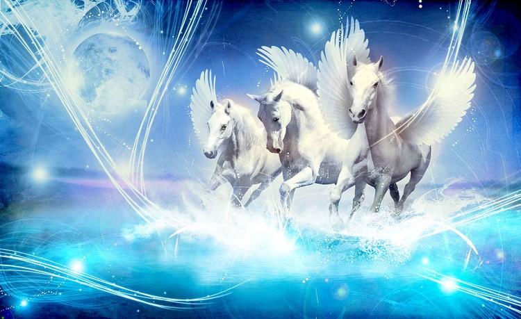 Posters Fototapeta Winged Horse Pegasus Blue 104x70.5 cm - 130g/m2 Vlies Non-Woven - Posters