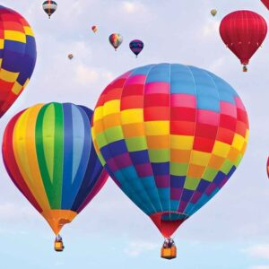 Posters Fototapeta Hot Air Baloons Colours 104x70.5 cm - 130g/m2 Vlies Non-Woven - Posters