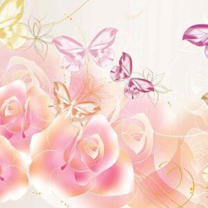 Posters Fototapeta Butterflies Flowers Roses 152.5x104 cm - 130g/m2 Vlies Non-Woven - Posters