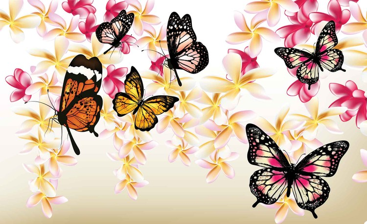 Posters Fototapeta Butterflies Flowers 208x146 cm - 130g/m2 Vlies Non-Woven - Posters