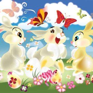 Posters Fototapeta Rabbit Bunny Butterflies Flowers 152.5x104 cm - 130g/m2 Vlies Non-Woven - Posters