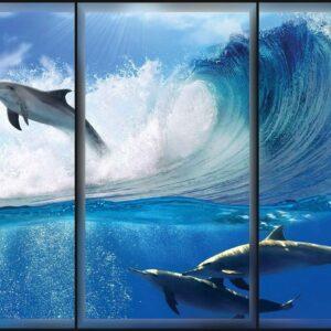 Posters Fototapeta Dolphins Sea Wave Jump 152.5x104 cm - 130g/m2 Vlies Non-Woven - Posters