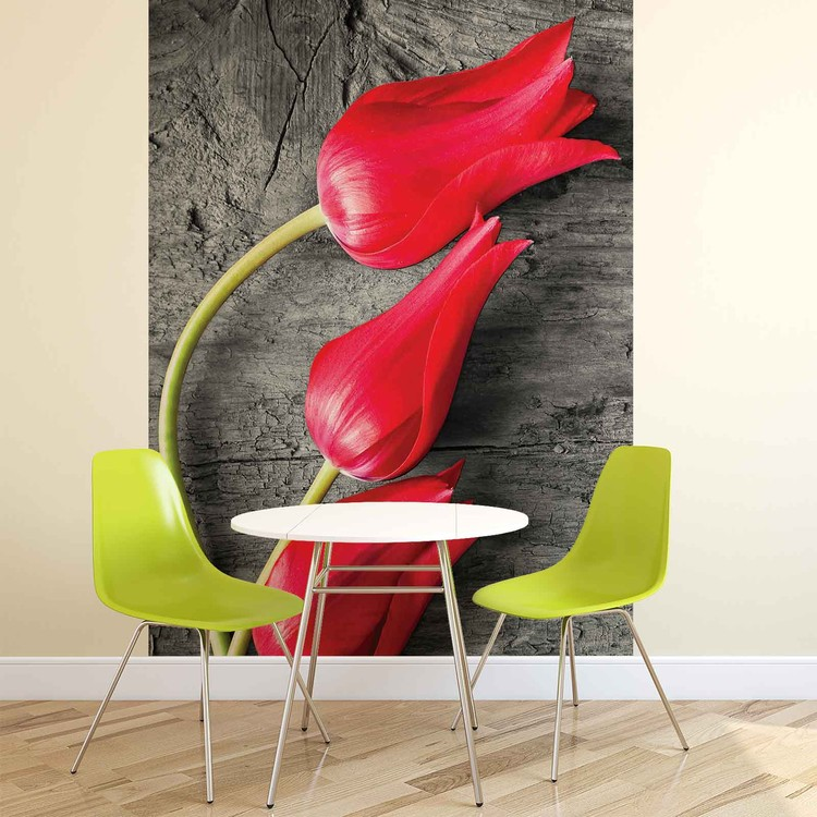 Posters Fototapeta Tulips on Wood 152.5x104 cm - 130g/m2 Vlies Non-Woven - Posters
