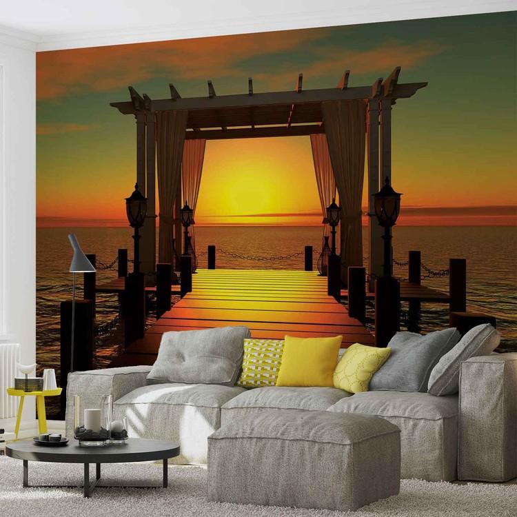 Posters Fototapeta Sunset Paradise Beach 152.5x104 cm - 130g/m2 Vlies Non-Woven - Posters