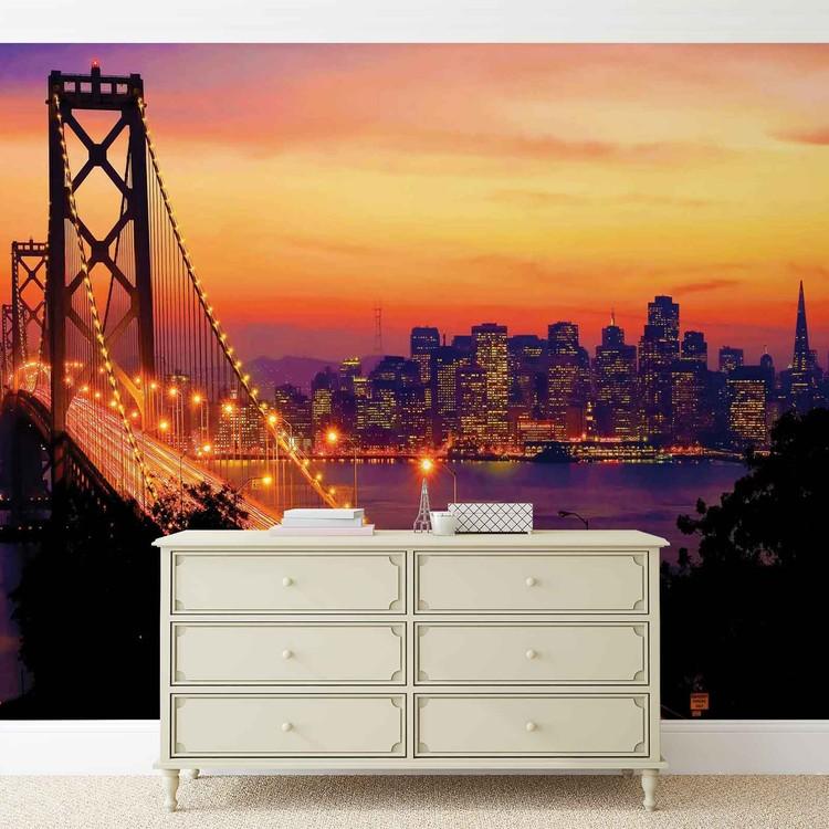 Posters Fototapeta City Skyline Golden Gate Bridge 152.5x104 cm - 130g/m2 Vlies Non-Woven - Posters