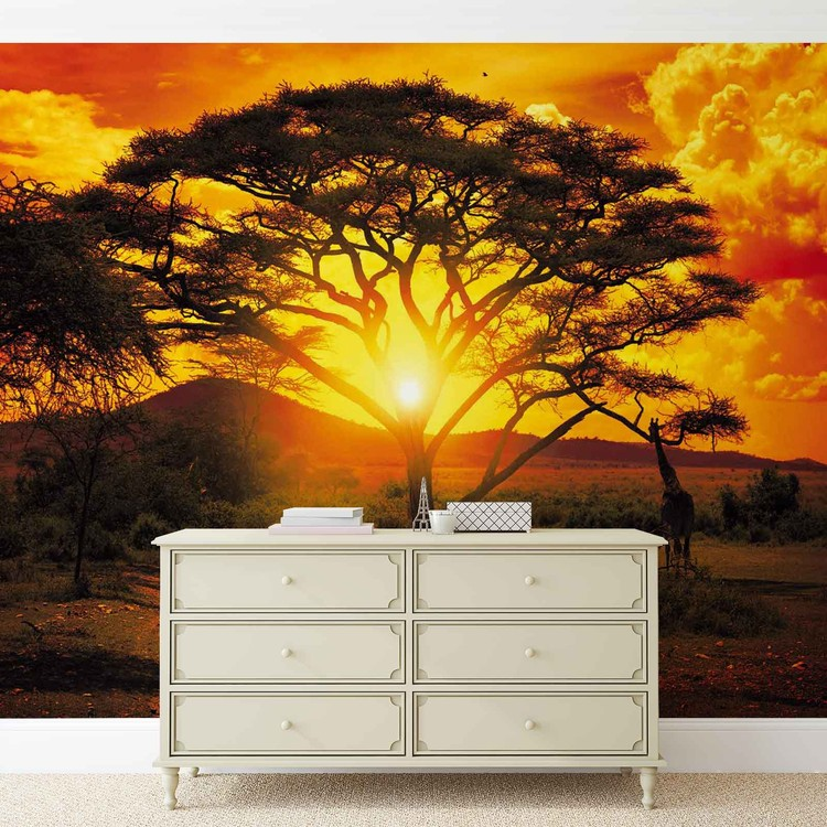 Posters Fototapeta Sunset Africa Nature Tree 208x146 cm - 130g/m2 Vlies Non-Woven - Posters
