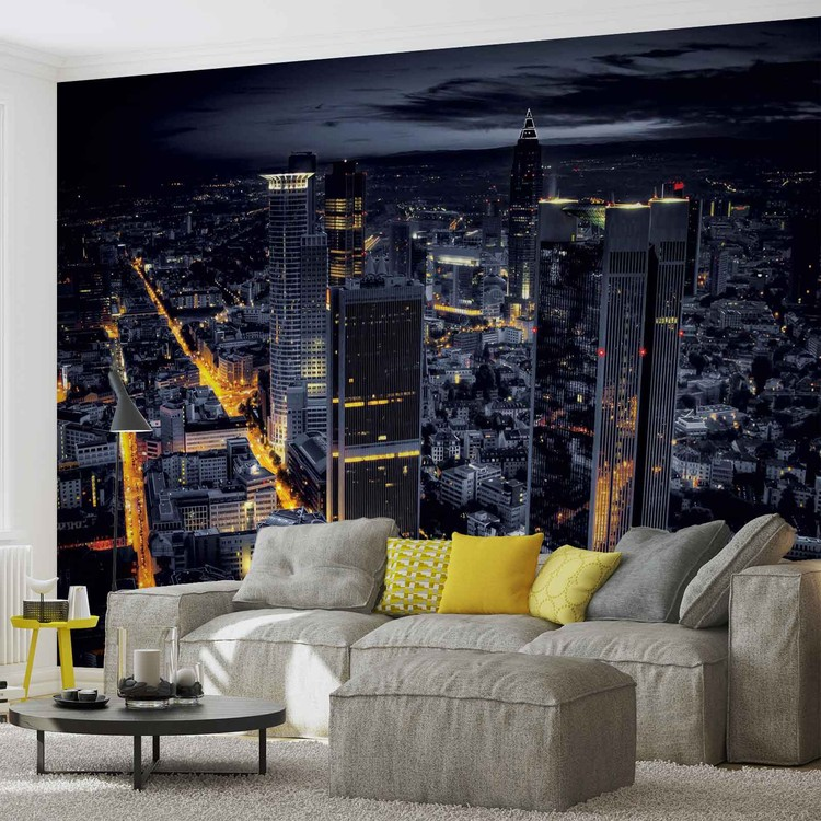 Posters Fototapeta City Frankfurt Skyline Night Lights 208x146 cm - 130g/m2 Vlies Non-Woven - Posters