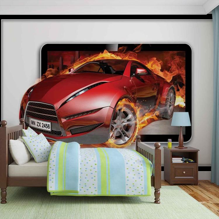 Posters Fototapeta Car Flames 208x146 cm - 130g/m2 Vlies Non-Woven - Posters