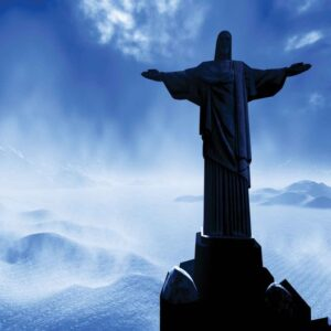 Posters Fototapeta Christ Redeemer Rio 254x184 cm - 115g/m2 Paper - Posters