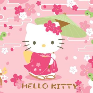 Posters Fototapeta Hello Kitty 152.5x104 cm - 130g/m2 Vlies Non-Woven - Posters
