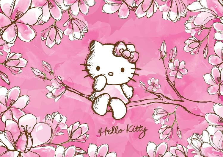 Posters Fototapeta Hello Kitty 104x70.5 cm - 130g/m2 Vlies Non-Woven - Posters
