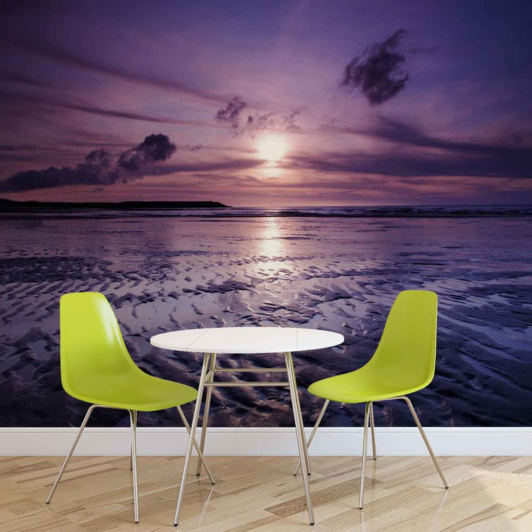 Posters Fototapeta Beach Sunset 250x104 cm - 130g/m2 Vlies Non-Woven - Posters