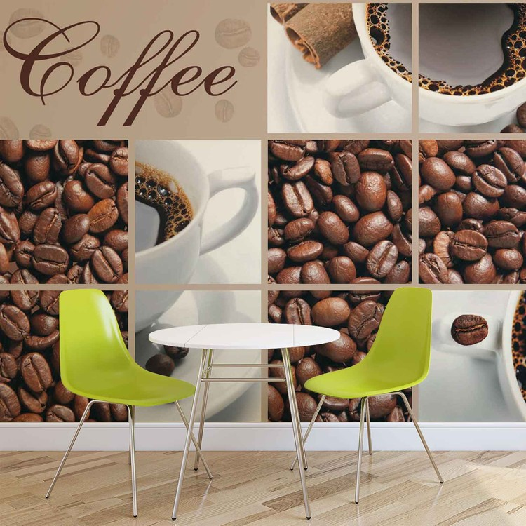 Posters Fototapeta Coffee Cafe 211x90 cm - 130g/m2 Vlies Non-Woven - Posters