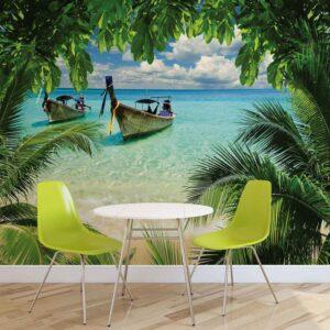 Posters Fototapeta Beach Tropical Paradise Boat 208x146 cm - 130g/m2 Vlies Non-Woven - Posters