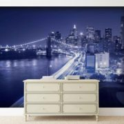 Posters Fototapeta New York City Brooklyn Bridge Lights 250x104 cm - 130g/m2 Vlies Non-Woven - Posters