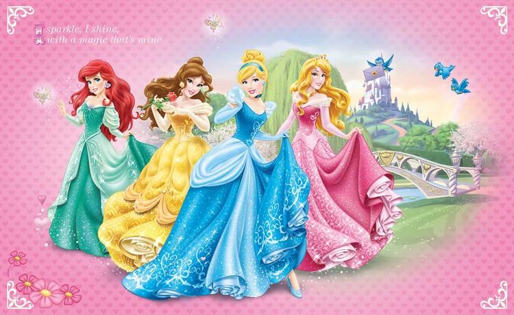 Posters Fototapeta Disney Princesses Cinderella Belle 152.5x104 cm - 130g/m2 Vlies Non-Woven - Posters