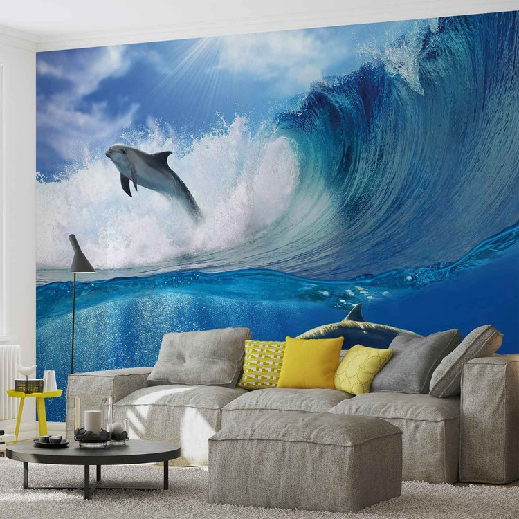 Posters Fototapeta Dolphins Sea Wave Nature 250x104 cm - 130g/m2 Vlies Non-Woven - Posters