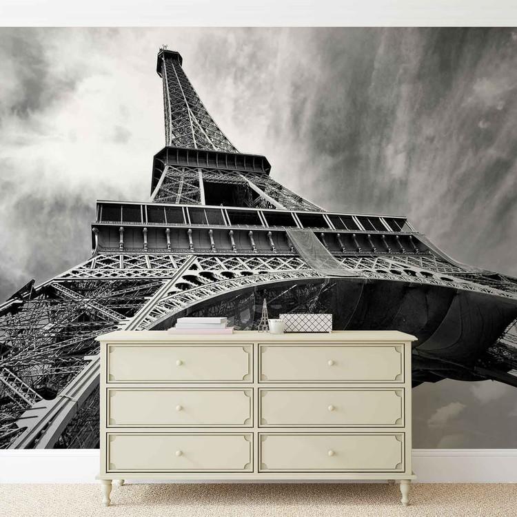 Posters Fototapeta Paris Eiffel Tower Black White 368x254 cm - 115g/m2 Paper - Posters