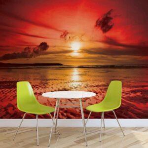 Posters Fototapeta Beach Sunset 104x70.5 cm - 130g/m2 Vlies Non-Woven - Posters