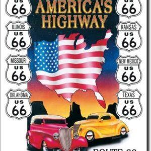 Posters Plechová cedule AMERICAS HIGHWAY