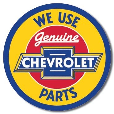 Posters Plechová cedule CHEVY - round geniune parts