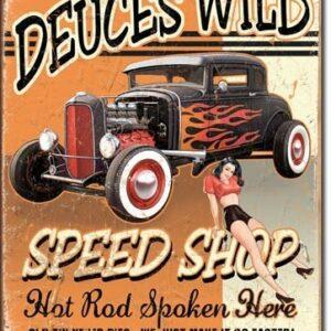 Posters Plechová cedule DEUCES WILD SPEED SHOP
